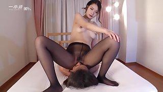 Ako Nishino face sedentary - japan jav shapely pantyhose nylon handjob pale