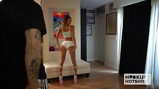 Hot photo session of leggy adult model Emma Hix