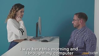 Curly girl Penelope Cu needs some support from nerdy man and gets nailed