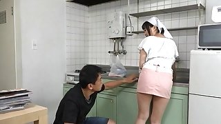 Busty Japanese maid gets her pussy licked and fucked stranger behind